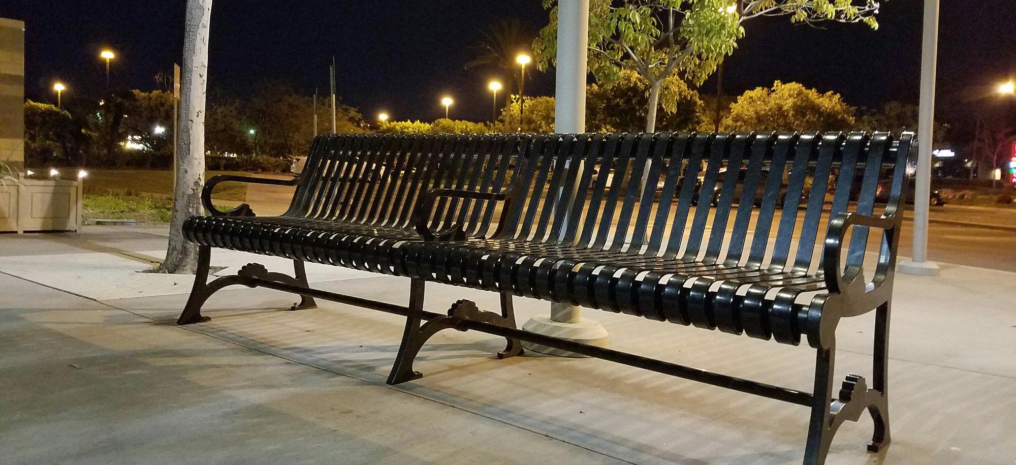 metal bench seating background